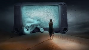 Girl coming out of TV